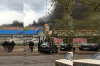 В Смоленске горит склад бывшего мясокомбината на улице Кашена