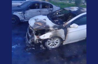 3 иномарки горели ночью во дворе на улице Генерала Паскевича в Смоленске