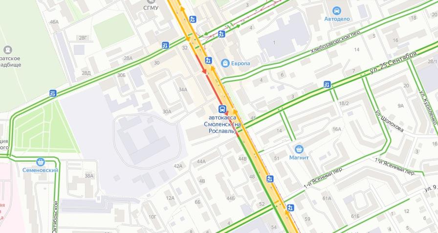 В Смоленске в аварии на перекрестке улиц 25 Сентября и Крупской пострадал водитель